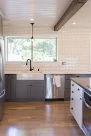 Backsplash Subway Tiles For Kitchen by Gray Recessed Panel Cabinets White Subway Tile Backsplash With