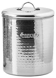 stainless steel kitchen canister stainless steel hammered cookie jar with fresh seal cover