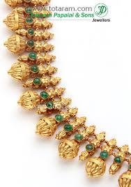 22k gold side design necklace temple jewellery