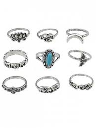 gem silver rings images 2018 floral artificial gem finger rings set in silver one size zaful jpg