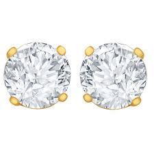 gold diamond stud earrings 1 2 carat diamond stud earrings i1 si2 clarity hi color 14kt