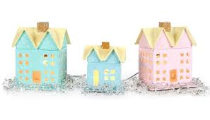 Paper Mache Christmas Crafts - glittered paper mache village craft ideas