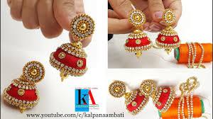 fancy jhumka earrings how to make designer silk thread jhumkas at home fancy silk