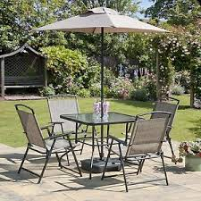Patio Table Parasol Oasis Patio Set Outdoor Garden Furniture 7 Piece Folding Chairs