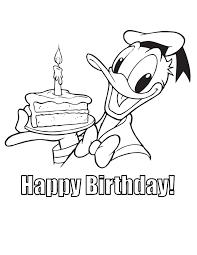 donald duck happy birthday cake coloring u0026 coloring