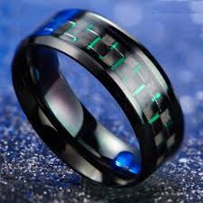 blue steel rings images Green carbon fiber army stainless steel ring aspire gear jpg