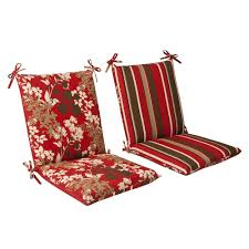 Outdoor Furniture Cushions Amazon Com Pillow Perfect Indoor Outdoor Red Brown Floral Striped