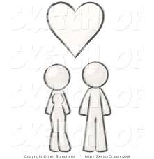 drawing of a sketched design mascot couple under a white heart by