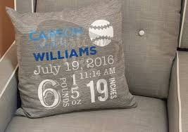 personalized pillows for baby baby boy custom personalized birth announcement pillow baseball