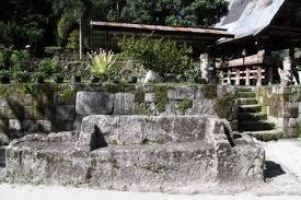 Stone Chair Stone Chairs Near Houses In Ambarita Village Indonesia Stock