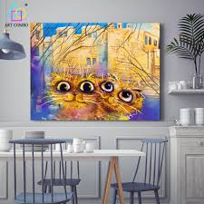 online shop modern funny cat paintings canvas cheap wall art