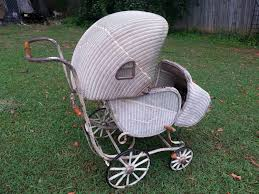 antique lloyd loom baby buggy pram primitive 1920s wicker