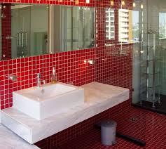 easy red mosaic bathroom tiles for minimalist interior home design