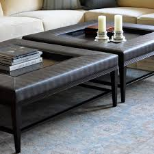 Leather Square Ottoman Coffee Table Popular Leather Coffee Table Inside Glass Ottoman Prepare 17