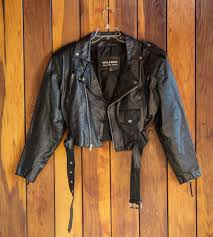 brown leather motorcycle jacket vintage 80s 90s cropped leather motorcycle jacket by wilson u0027s
