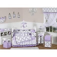 sweet jojo designs purple black and white princess 9 piece crib