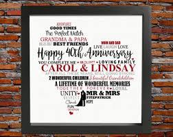 40th wedding anniversary gift ideas 40th anniversary etsy