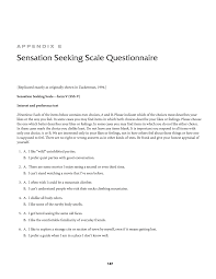 Seeking Text Appendix E Sensation Seeking Scale Questionnaire Naturalistic