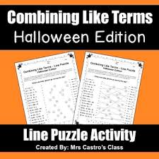 combining like terms halloween puzzle activity by mrs castro u0027s class