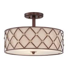 Copper Ceiling Light Quoizel Brown Lattice Semi Flush Ceiling Light In Copper Canyon