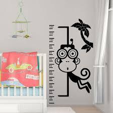 monkey height chart wall sticker children