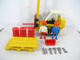 vintage retired playmobil construction 3506 forklift barrels tools