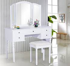 Folding Vanity Table Homcom Vanity Set Makeup Dressing Table Tri Folding Mirror W Stool