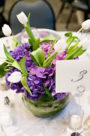 Purple Flower Centerpieces by Great Use Of Purple With The White Tulips As Accents The Stems Of