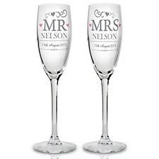engraved wedding flutes chagne glasses personalised gifts