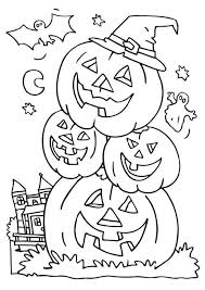 happy halloween coloring pages pumpkin skeleton haunted house