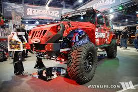 back of a jeep 2016 sema skyjacker red jeep jk wrangler unlimited