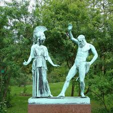 athena and satyr marsyas finds aulos statue in park in copenhagen