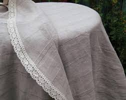 Round Kitchen Table Cloth by Gray Tablecloth Etsy