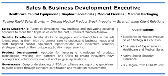 Medical Device Resume Examples by Healthcare Equipment Medical Device Sales Profile It Tech Exec