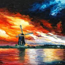 windmill u2014 holland u2014 palette knife oil painting on canvas by