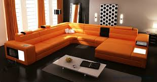 Living Room With Orange Sofa Sale Modern Orange Sofa Set Large Size U Shaped Villa Couches