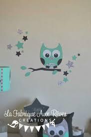hibou chambre bébé stickers hibou atoiles vert eau gris collection et stickers hibou