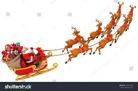 santa claus rides reindeer sleigh on stock illustration 120318427