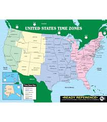 Timezone Map Usa by U S And World Maps With Time Zones Ready Reference Learning Cards