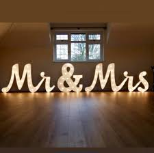 light up mr mrs letters set joined writing style with cabochone