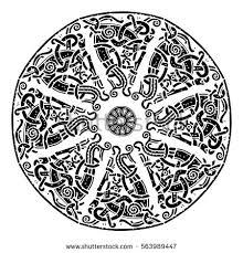 ancient scandinavian ornament shield viking scandinavian stock