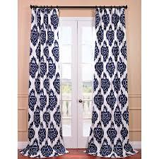 108 Drapery Panels Shop Exclusive Fabrics U0026 Furnishing Ikat 108 In Ikat Blue Cotton