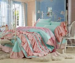 Korean Comforter Lovely Blue Color Pink Chiffon Floral Borders Cinderella 4 Piece