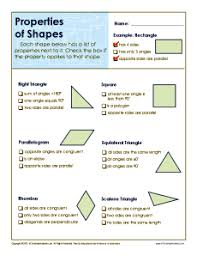 properties of shapes 5th grade geometry worksheets