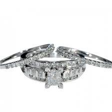 2 wedding bands set 3pc engagement ring 2 wedding bands princess cut center real
