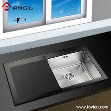 Black Glass Kitchen Sinks Big Kitchen Sinks Glass Amusing Glass Sink Kitchen Home Design Ideas