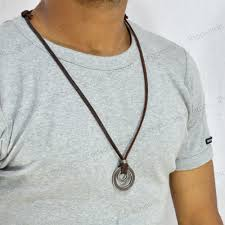 men necklace leather images Sarah double rings pendant adjustable leather cord mens necklace jpg