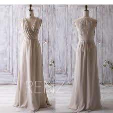 cream beige bridesmaid dress long ruched v neck wedding