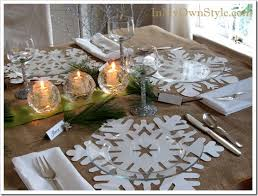holiday table setting snowflake place mats place cards and