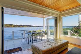 home interior shows lakefront home interior shows the covered deck stock photo image